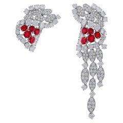 18 Karat White Gold Ruby and Diamond Earrings