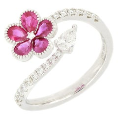 18 Karat White Gold Ruby And Diamond Flower Ring