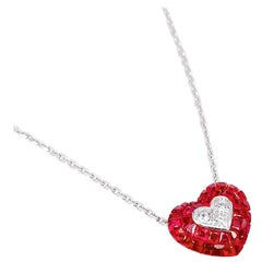 18 Karat White Gold Ruby and Diamond Heart Necklace