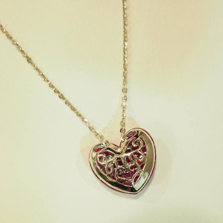 Modern 18 Karat White Gold Ruby and Diamond Heart Necklace in Invisible Setting For Sale