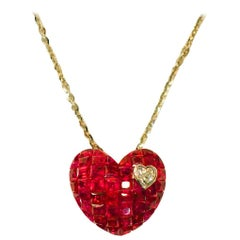 18 Karat White Gold Ruby and Diamond Heart Necklace in Invisible Setting