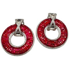 18 Karat White Gold Ruby and Diamond Invisible Hoop Earrings