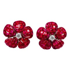 18 Karat White Gold Ruby and Diamond Invisible Stud Earrings