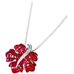 18 Karat White Gold Ruby and Diamond Maple Pendant