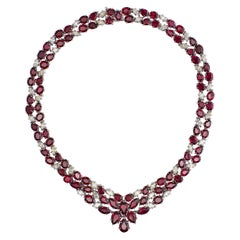 18 Karat White Gold Ruby and Diamond Necklace 'Collier'