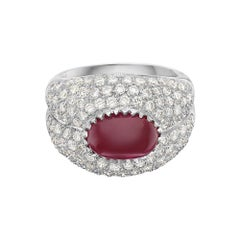 18 Karat White Gold Ruby and Diamond Pave Cocktail Ring