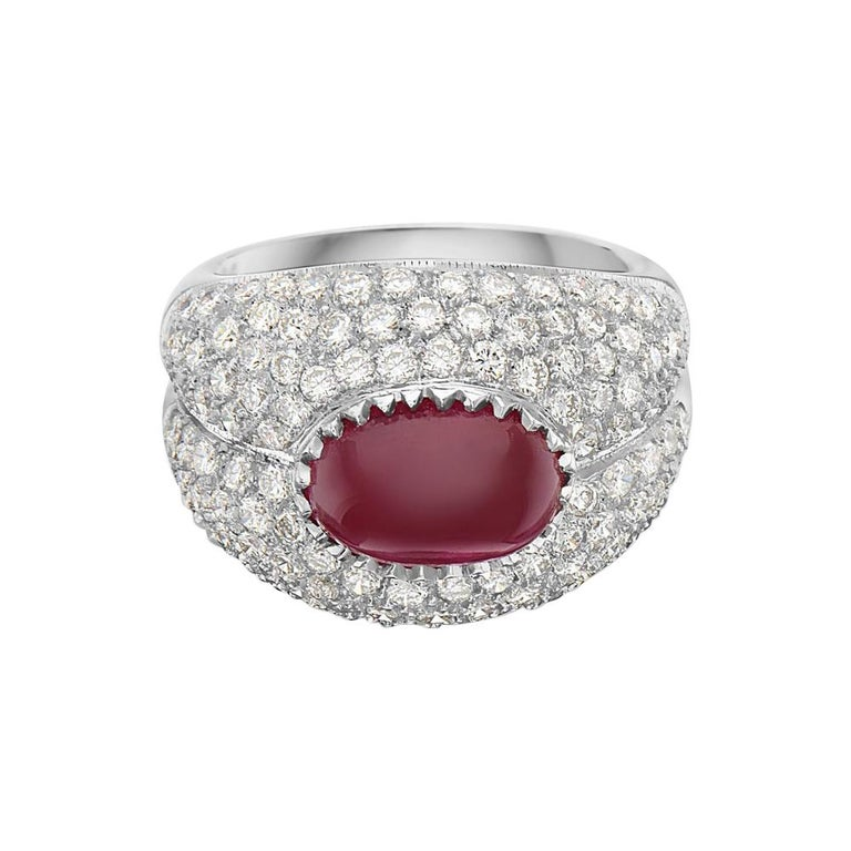 18 Karat White Gold Ruby and Diamond Pave Cocktail Ring For Sale