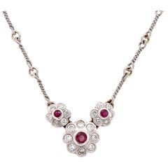 18 Karat White Gold Ruby and Diamond Twisted Link Necklace