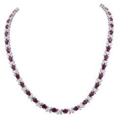 18 Karat White Gold Ruby and Diamond X-Necklace
