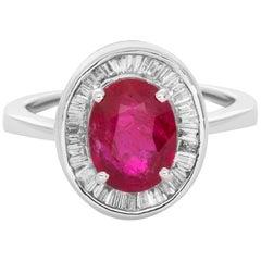 18 Karat White Gold Ruby Baguette Diamond Cocktail Ring