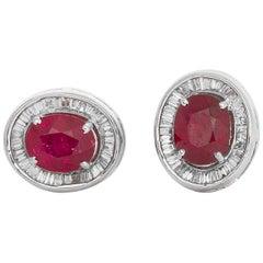 18 Karat White Gold Ruby Baguette Diamond Stud Earrings