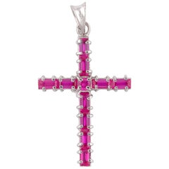 18 Karat White Gold Ruby Cross Pendant