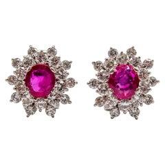18 Karat White Gold Ruby Diamond Cluster Earrings