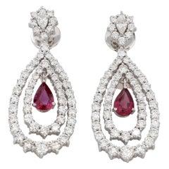 18 Karat White Gold Ruby Diamond Cocktail Dangle Earring