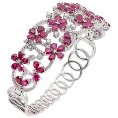 18 Karat White Gold Ruby Diamond Cuff Bracelet