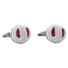 18 Karat White Gold Ruby Diamond Cufflinks