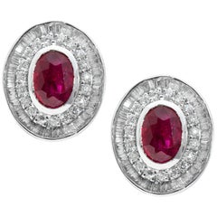 18 Karat White Gold Ruby Diamond Eartops