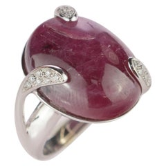 18 Karat White Gold Ruby Diamond Engagement Legacy Cabochon Solitaire Ring