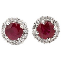 18 Karat White Gold Ruby Diamond Halo Stud Earrings