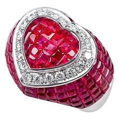 18 Karat White Gold Ruby Diamond Heart Cocktail Ring