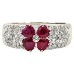 18 Karat White Gold Ruby Diamond Heart Flower Ring