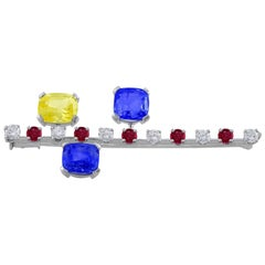 18 Karat White Gold Ruby Diamond Sapphire Pin