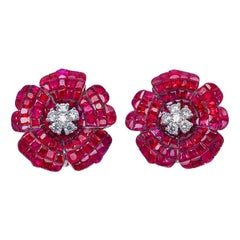 18 Karat White Gold Ruby Earrings