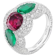 18 Karat White Gold Ruby, Emeralds and Diamonds Rose of the Desert Cocktail Ring