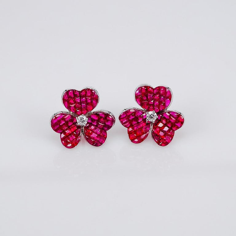 Round Cut 18 Karat White Gold Ruby Flower Earrings For Sale