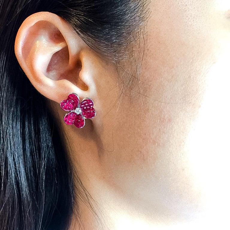 Women's 18 Karat White Gold Ruby Flower Earrings For Sale
