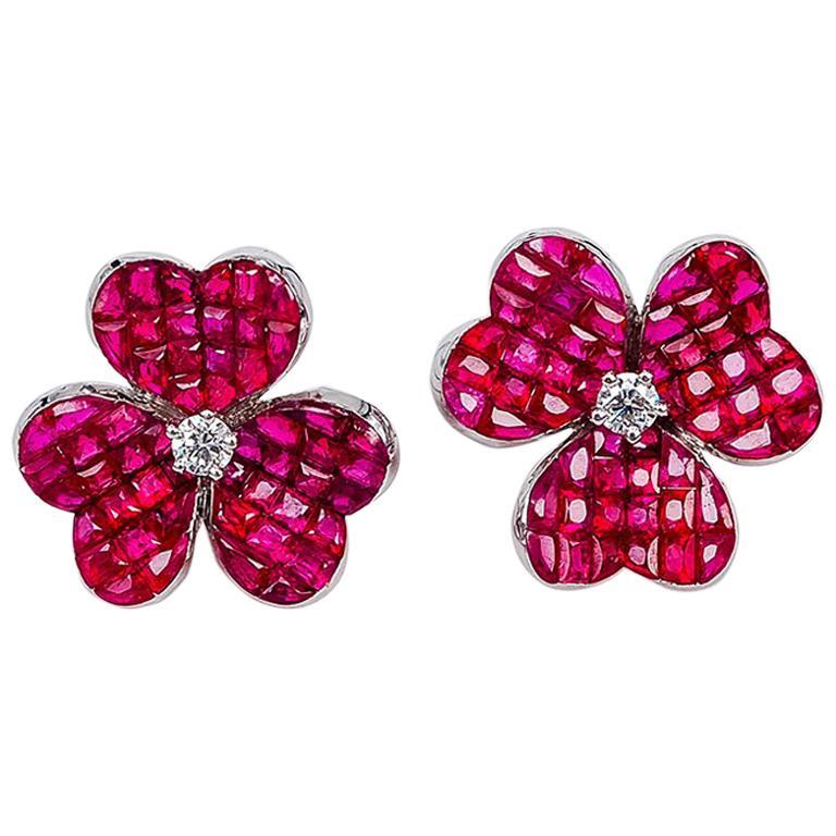18 Karat White Gold Ruby Flower Earrings For Sale