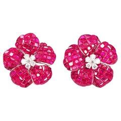 18 Karat White Gold Ruby Invisible Flower Earrings