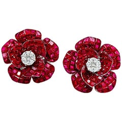 18 Karat White Gold Ruby Invisible Rose Earrings