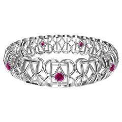 18 Karat White Gold Ruby Rectangle and Rhombus Bangle