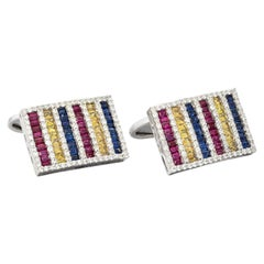 18 Karat White Gold Ruby Sapphire Diamond Cufflinks