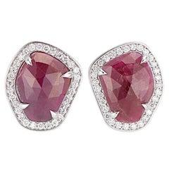 18 Karat White Gold Ruby Slice Diamond Stud Earrings