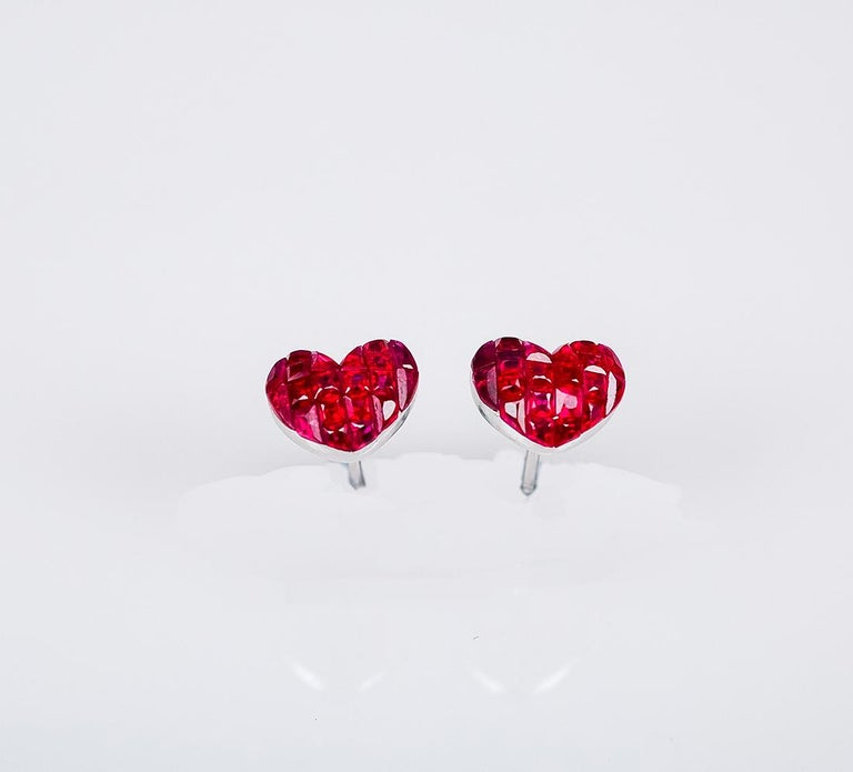 Ruby stud earrings design as classic luxury elegant style.You can use for everyday and also for the evening party.We use the top quality Ruby which make in invisible setting.We set the stone in perfection as we are professional in this kind of