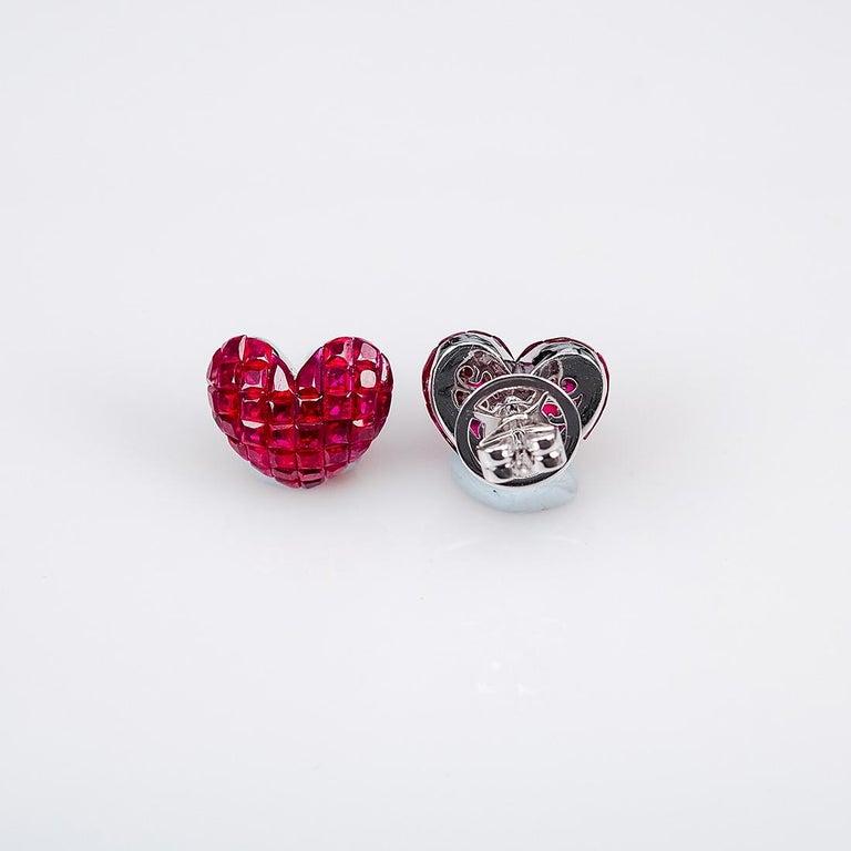Modern 18 Karat White Gold Ruby Stud Heart Earrings For Sale