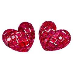 18 Karat White Gold Ruby Stud Heart Earrings