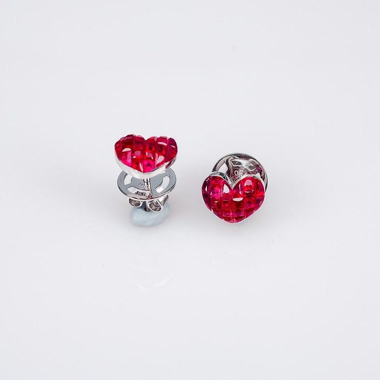 18 Karat White Gold Ruby Stud Small Heart Earrings For Sale 3