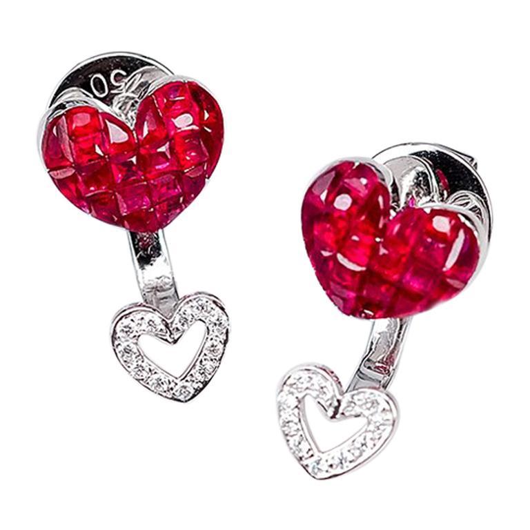18 Karat White Gold Ruby Stud Small Heart Earrings For Sale