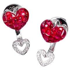 18 Karat White Gold Ruby Stud Small Heart Earrings