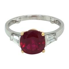 18 Karat White Gold Ruby Three Stone Ring by Gubelin