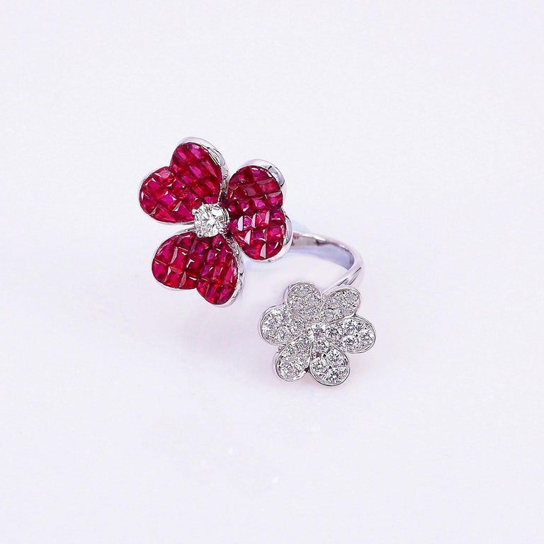 A very nice Ruby ring use the top quality Ruby which make in invisible setting.We set the stone in perfection as we are professional in this kind of setting more than 40 years.The invisible is a highly technique .We cut and groove every stone.