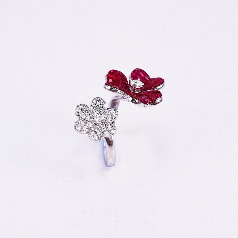 Modern 18 Karat White Gold Ruby with Diamond Cocktail Ring For Sale