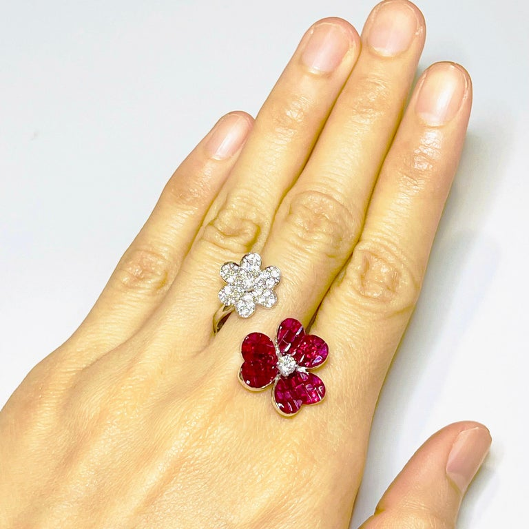Round Cut 18 Karat White Gold Ruby with Diamond Cocktail Ring For Sale