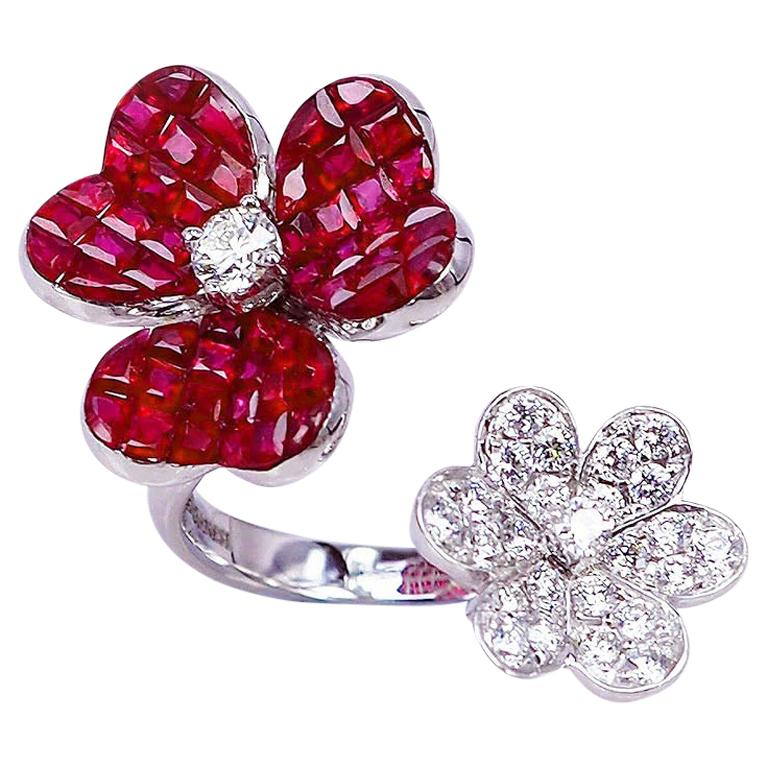 18 Karat White Gold Ruby with Diamond Cocktail Ring For Sale