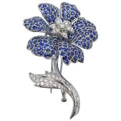 18 Karat White Gold, Sapphire 16.73 Carat and Diamond 2.10 Carat Flower Brooch