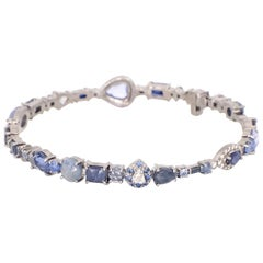 Sharon Khazzam 18 Karat White Gold Sapphire and Diamond Baby Bangle