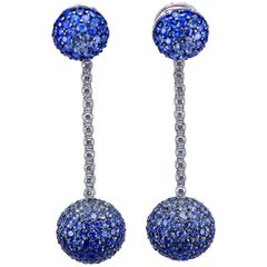 18 Karat White Gold Sapphire and Diamond Balls Earrings